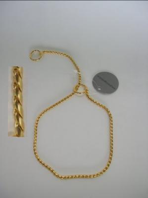 Coleira exposição dourada
